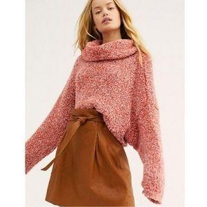 Free People BFF Pink Cowl Neck Sweater XS